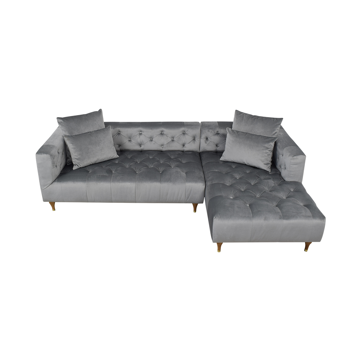 Interior Define Ms. Chesterfield Light Grey Tufted Right Chaise Sectional