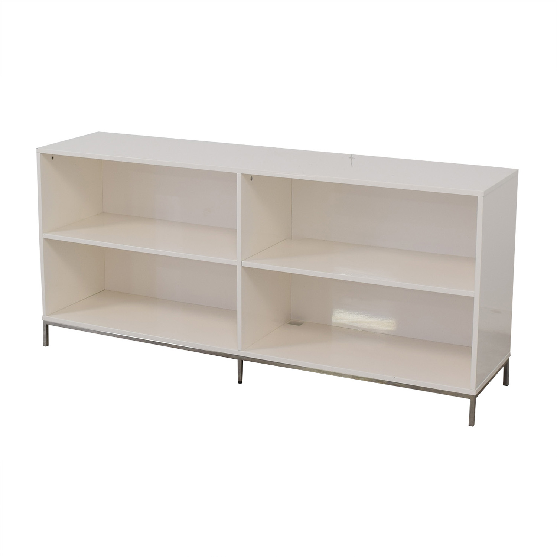 West Elm West Elm White Lacquer Storage Bookcase Storage