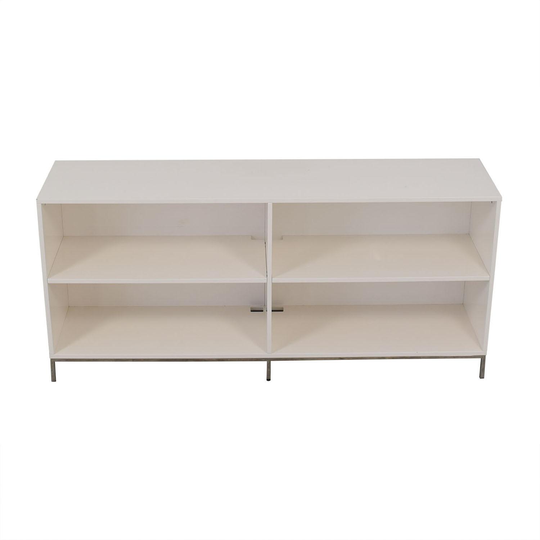 shop West Elm White Lacquer Storage Bookcase West Elm