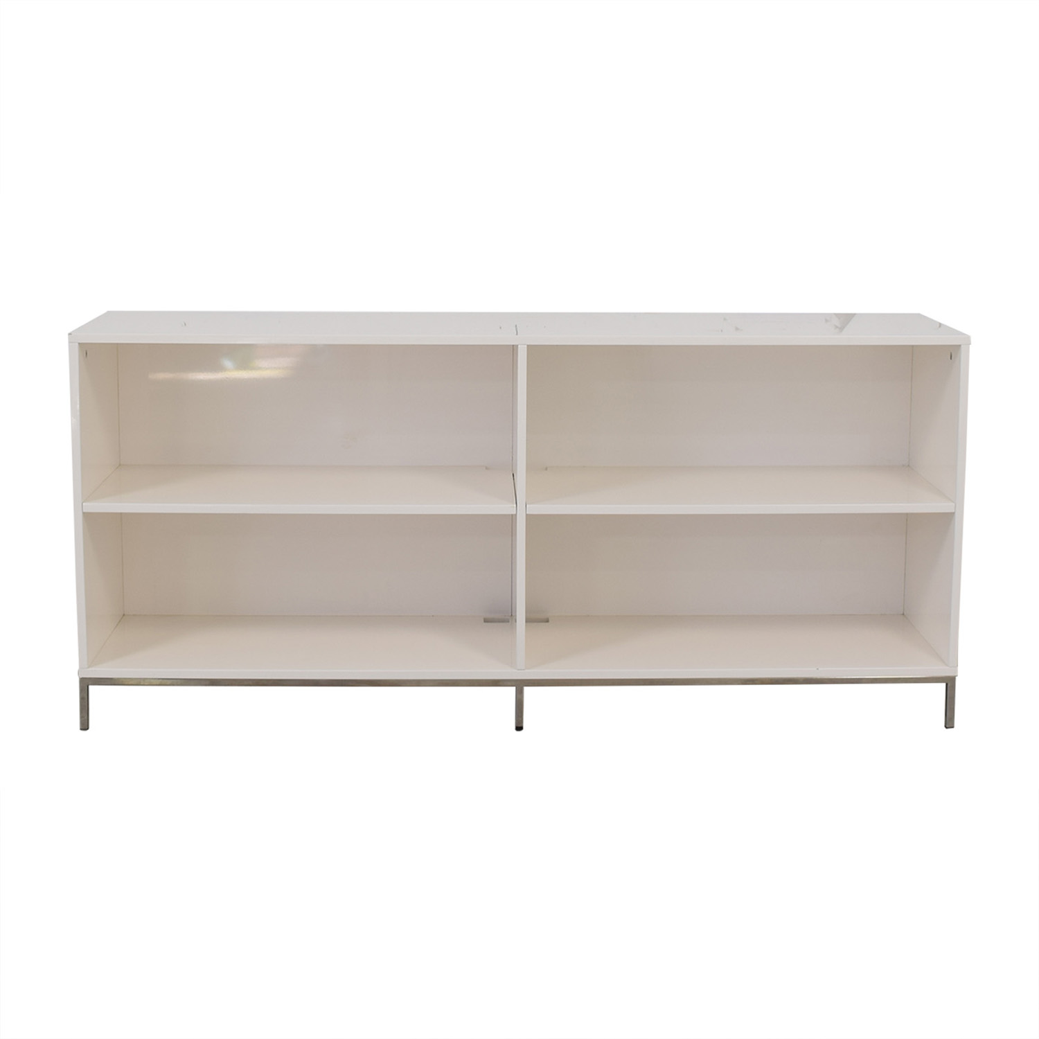 West Elm West Elm White Lacquer Storage Bookcase for sale