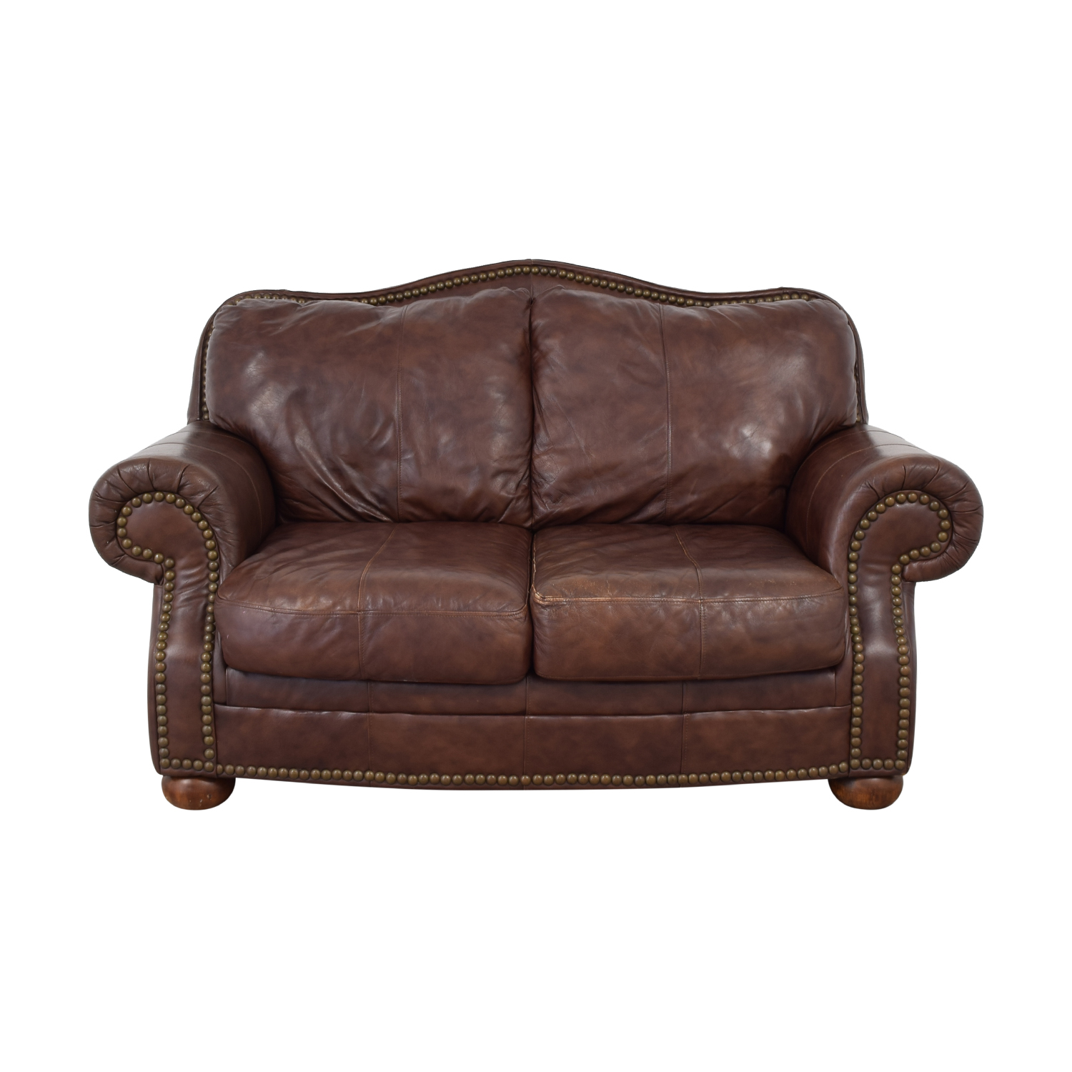 shop Ashley Furniture Brown Nailhead Two-Cushion Sofa Ashley Furniture Loveseats