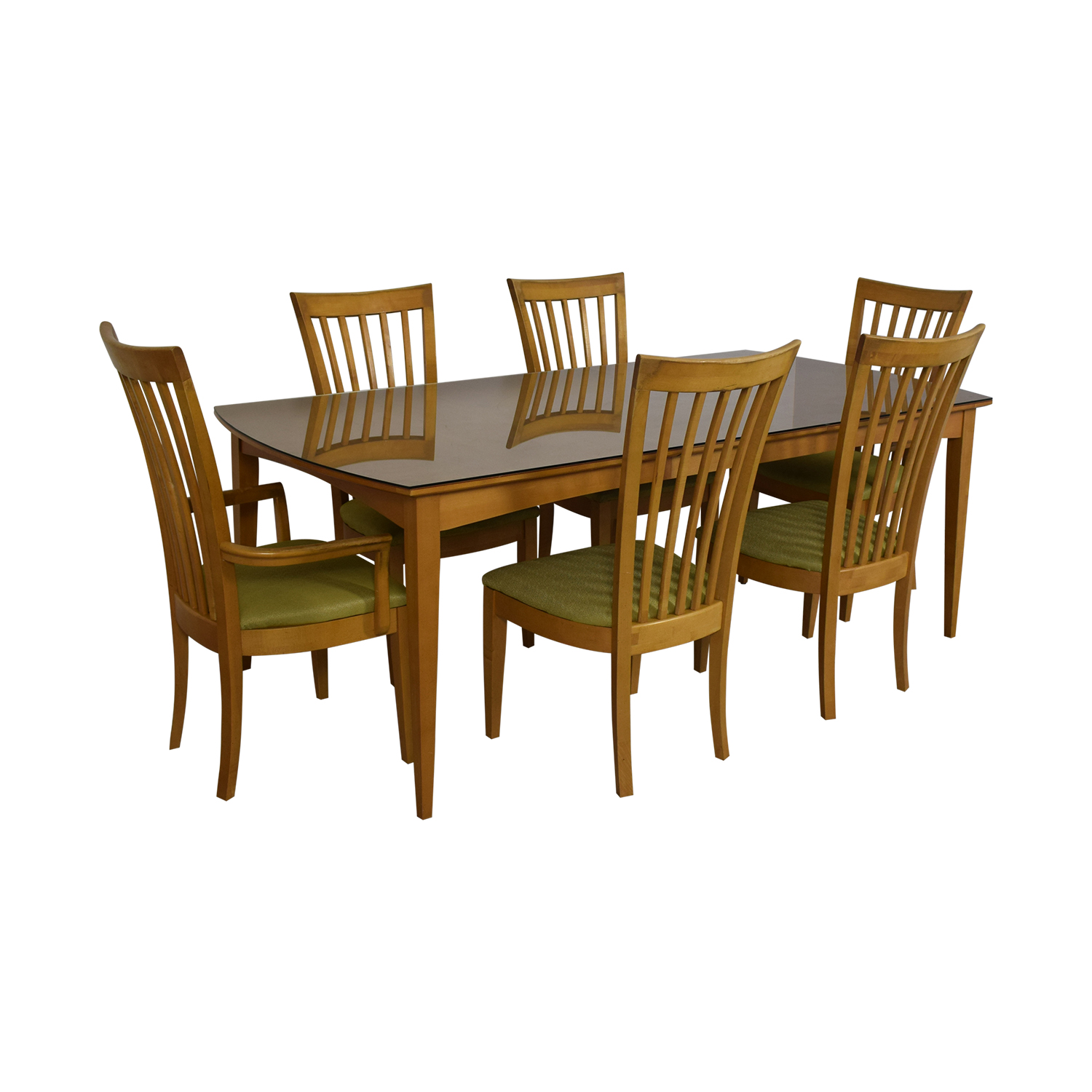 Stanley Furniture Natural Dining Set with Green Upholstered Chairs with Glass Protective Top Tables