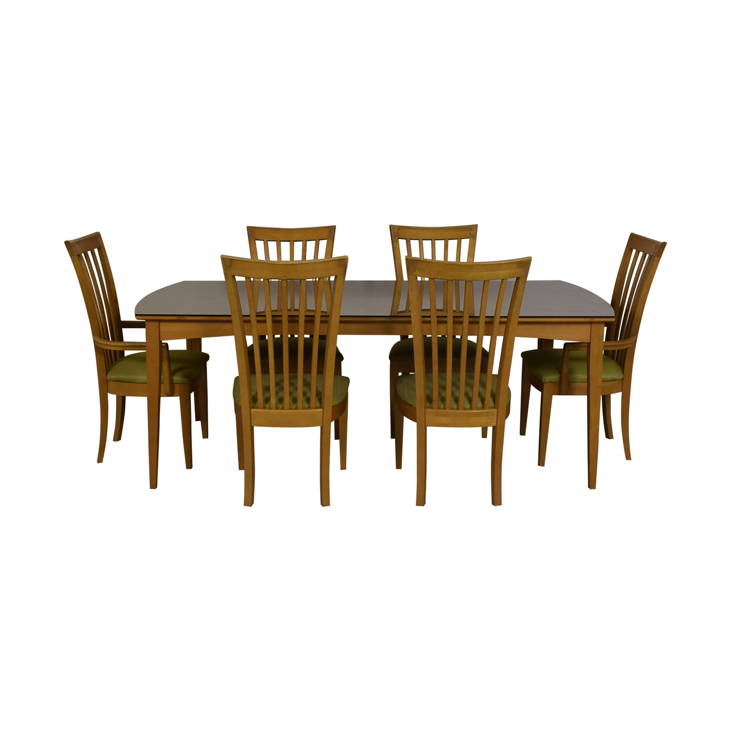 shop Natural Dining Set with Green Upholstered Chairs with Glass Protective Top Stanley Furniture Dining Sets