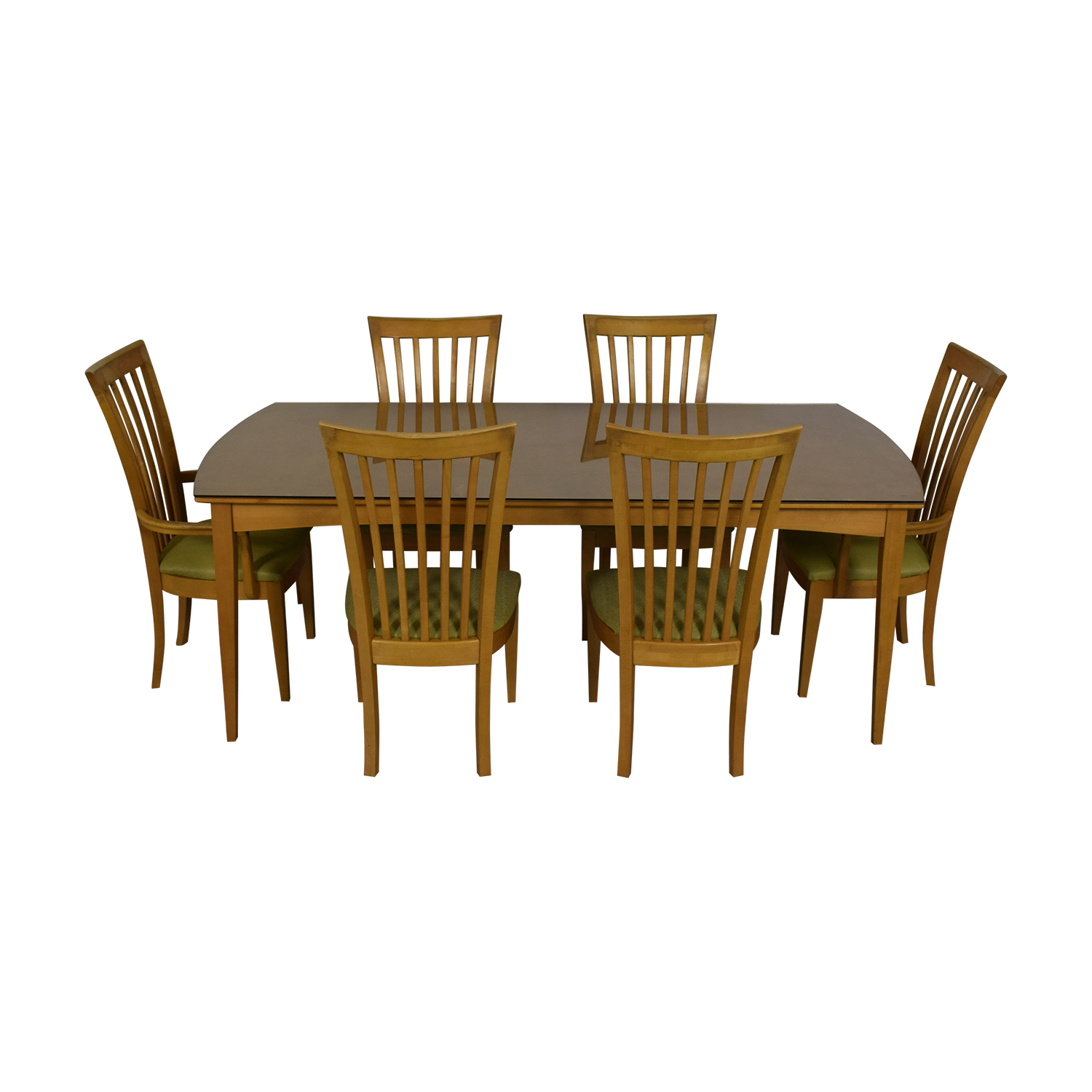 Stanley Furniture Natural Dining Set with Green Upholstered Chairs with Glass Protective Top nyc