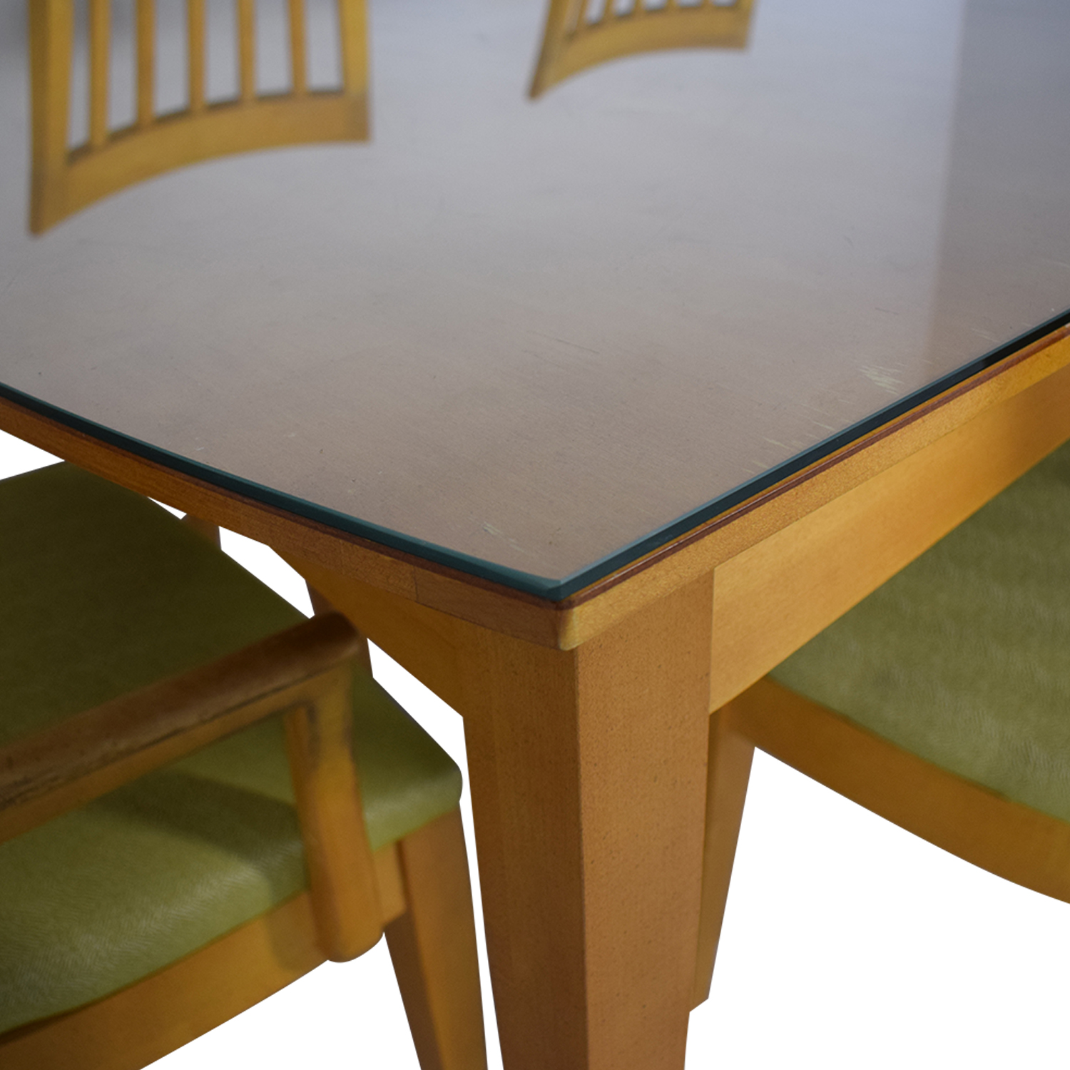 buy Natural Dining Set with Green Upholstered Chairs with Glass Protective Top Stanley Furniture Tables