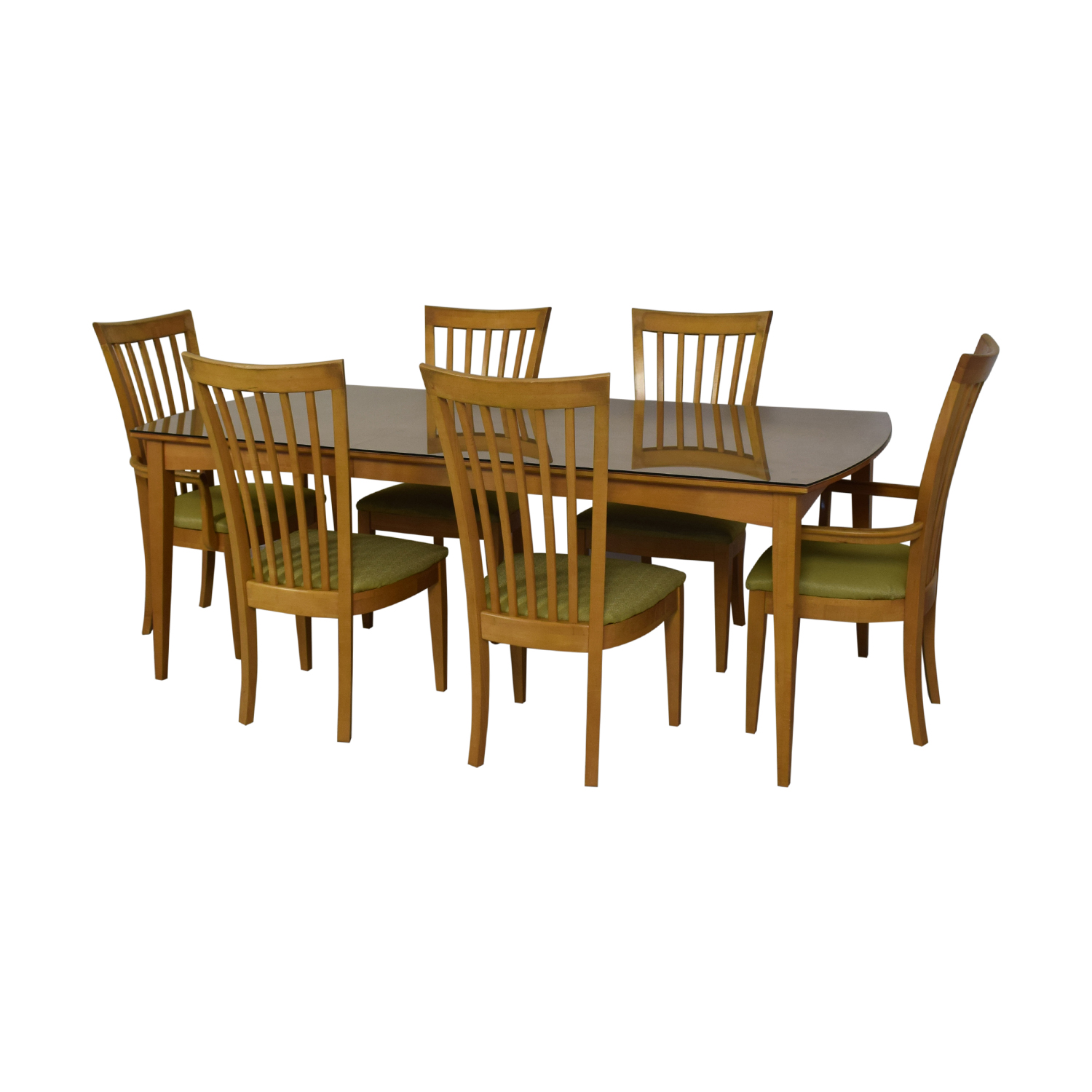 Stanley Furniture Natural Dining Set with Green Upholstered Chairs with Glass Protective Top Brown/Green