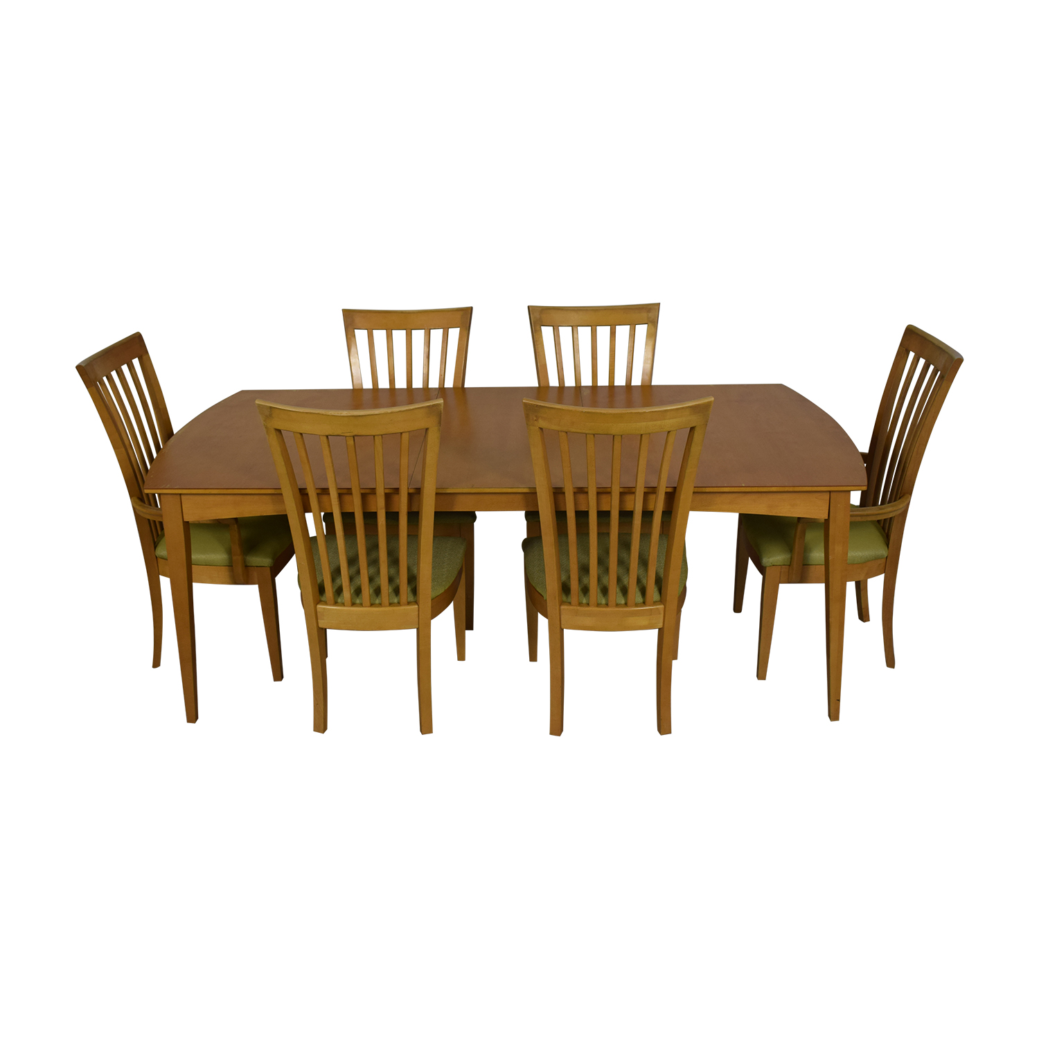 Stanley Furniture Natural Dining Set with Green Upholstered Chairs with Glass Protective Top Dining Sets