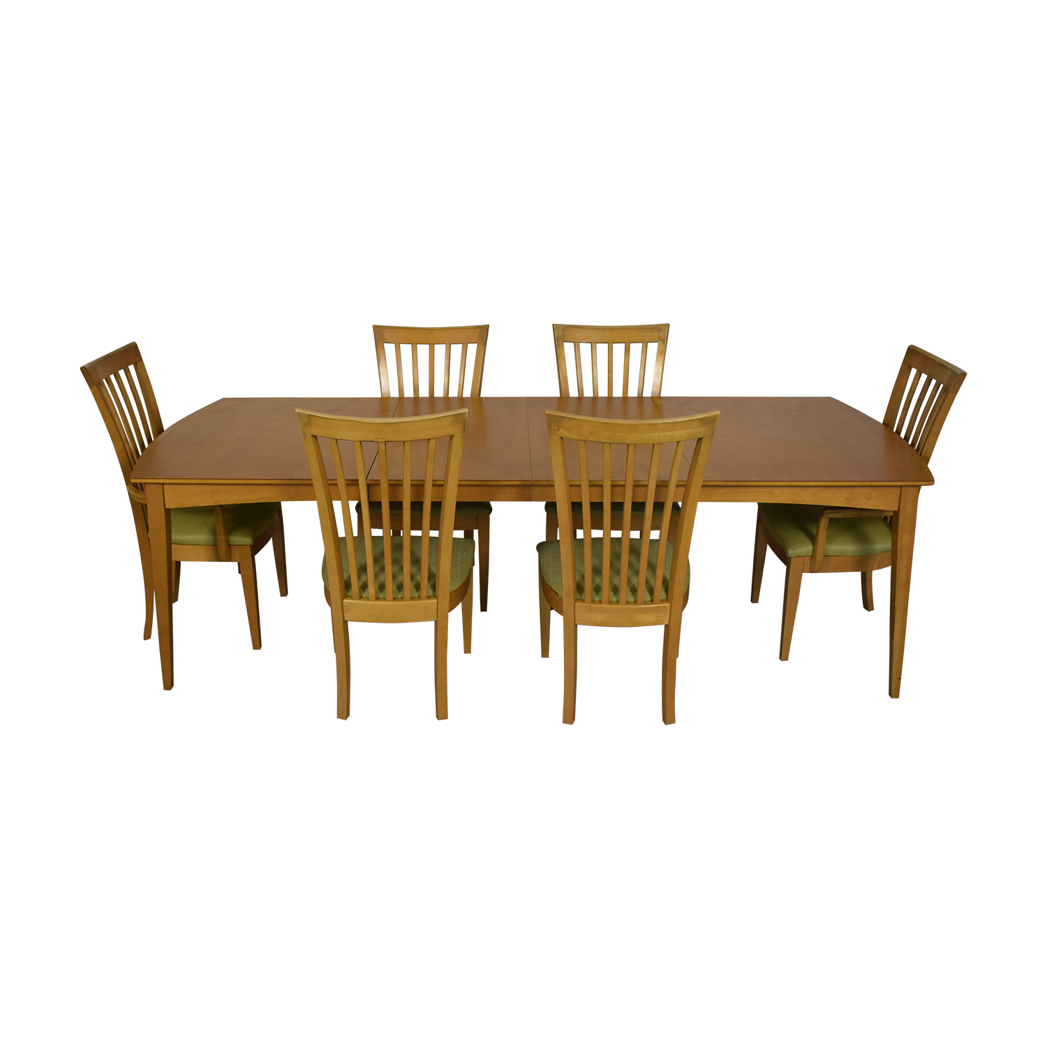 Stanley Furniture Natural Dining Set with Green Upholstered Chairs with Glass Protective Top nj