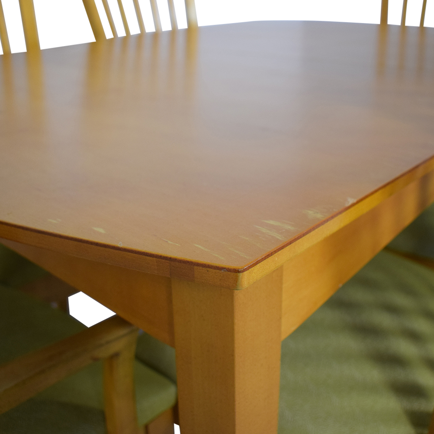 buy Natural Dining Set with Green Upholstered Chairs with Glass Protective Top Stanley Furniture