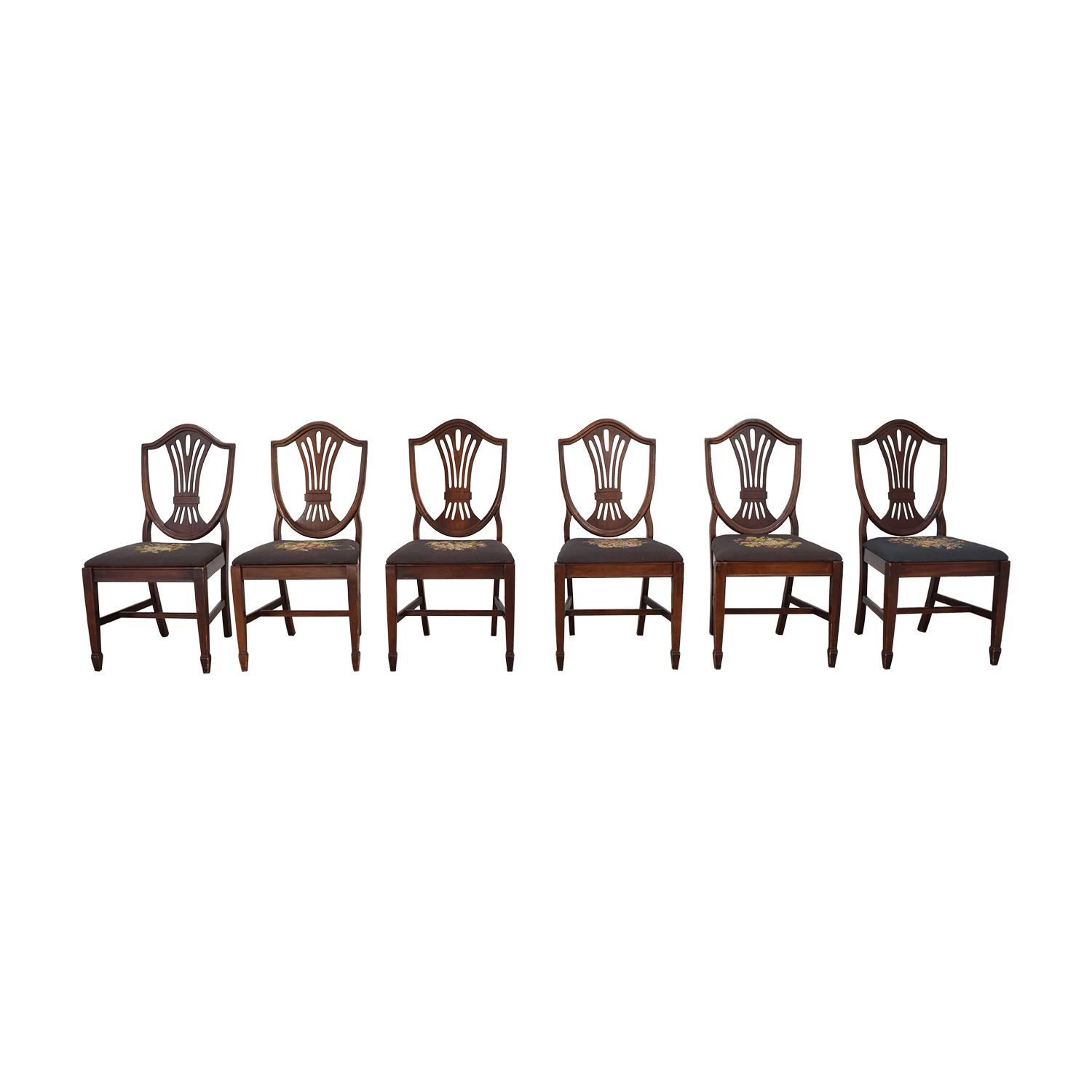 Carved Wood and Embroidered Dining Chairs nyc