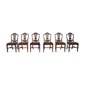 Carved Wood and Embroidered Dining Chairs for sale