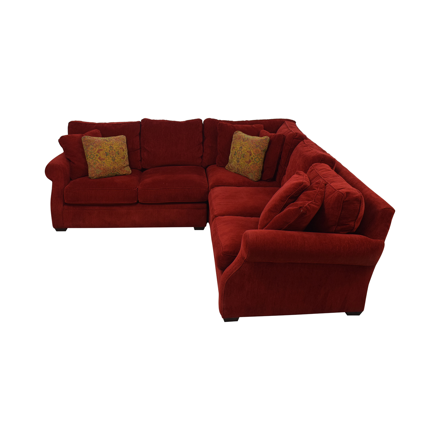 Retrospect Ruby Red L-Shaped Sectional dimensions
