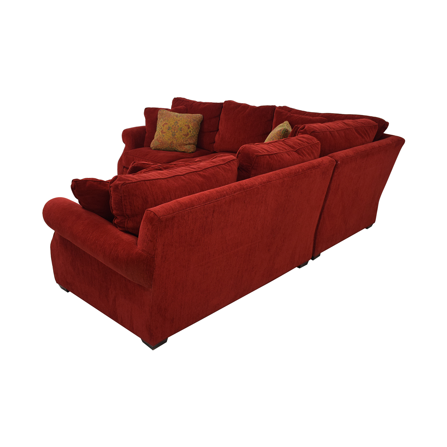 88% OFF - Retrospect Ruby Red L-Shaped Sectional / Sofas