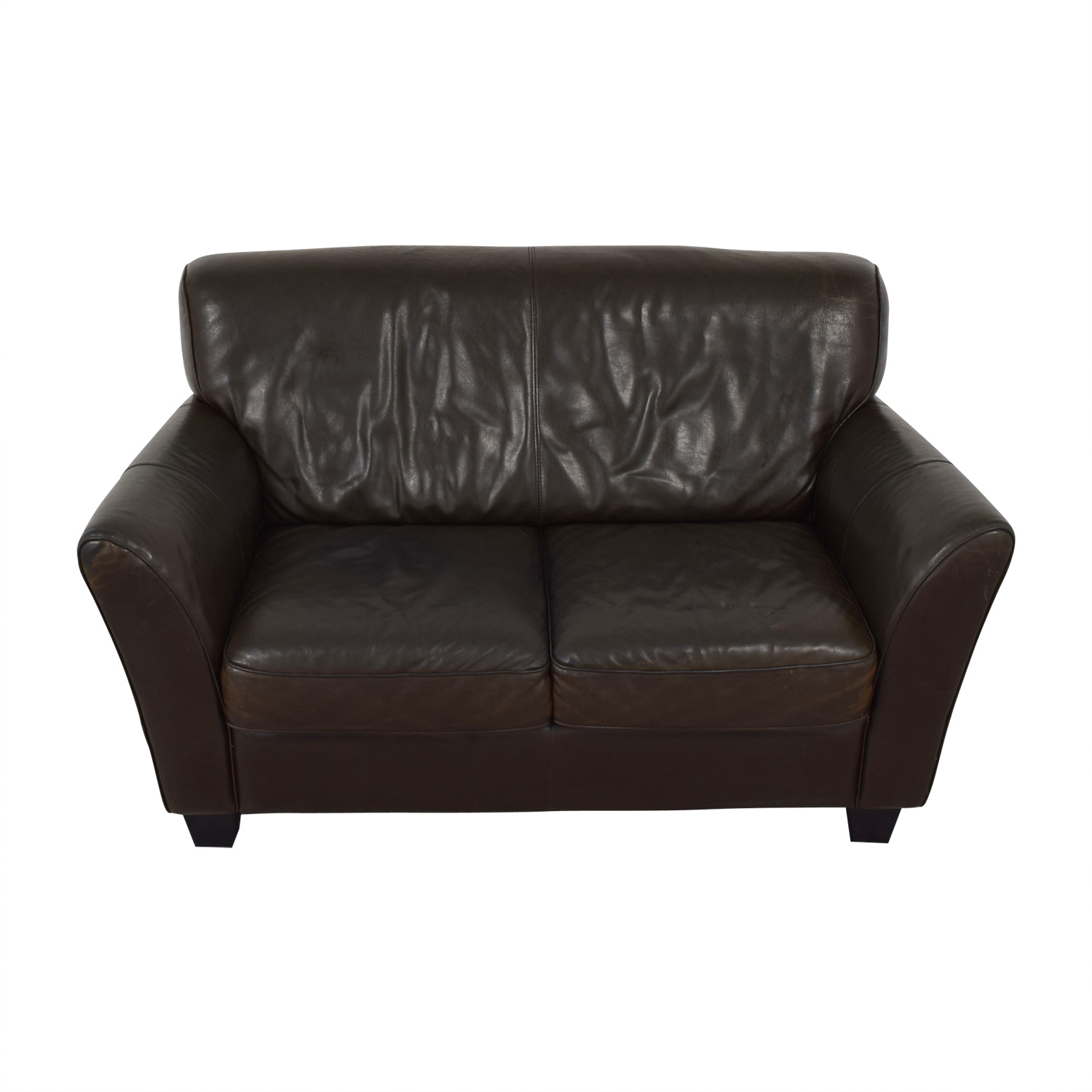 buy Natuzzi Brown Two-Cushion Couch Natuzzi