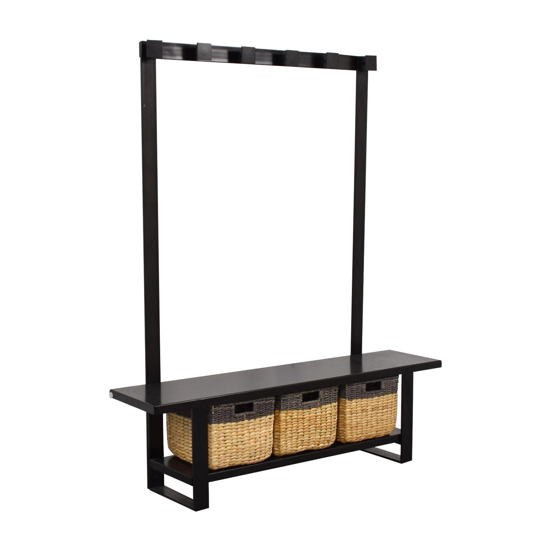 buy Crate & Barrel Crate & Barrel Black Coat Rack with Bench and Storage online