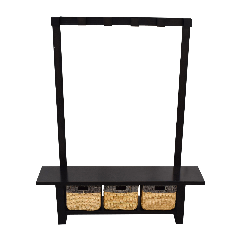 Crate & Barrel Crate & Barrel Black Coat Rack with Bench and Storage discount