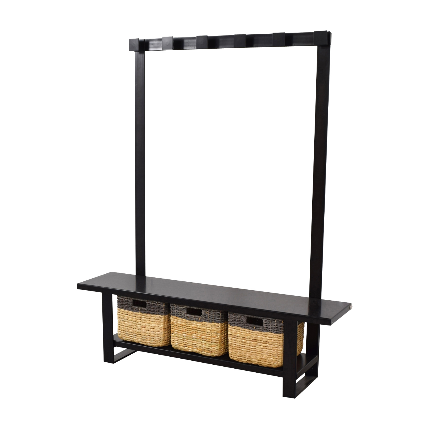 Crate & Barrel Crate & Barrel Black Coat Rack with Bench and Storage Decorative Accents