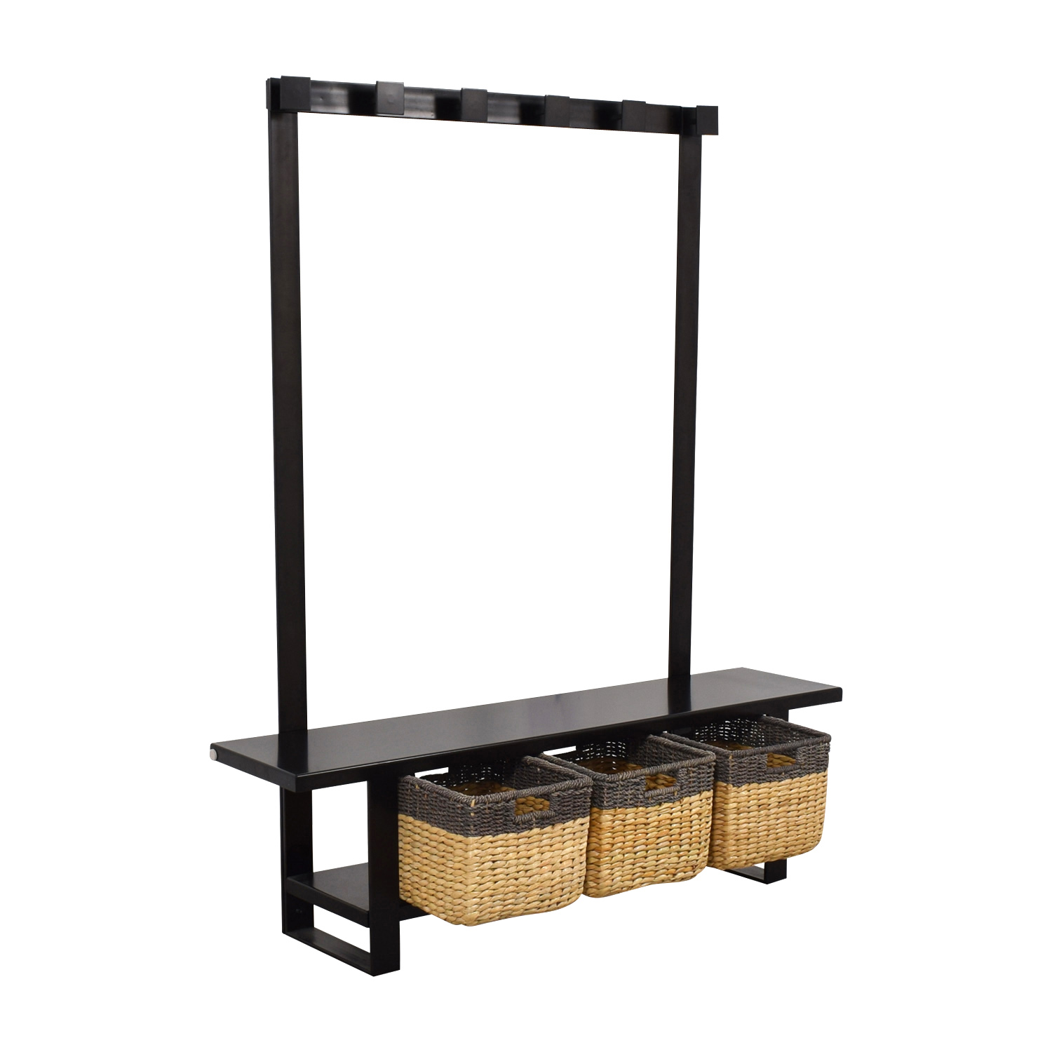 Crate & Barrel Crate & Barrel Black Coat Rack with Bench and Storage used