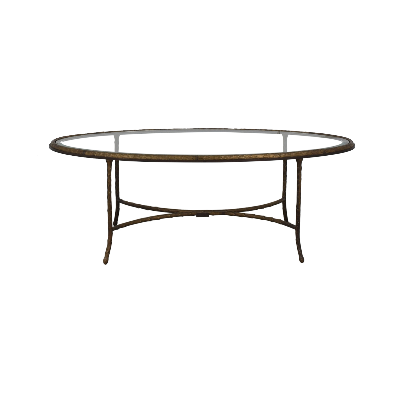 Oval Glass Top Coffee Table second hand