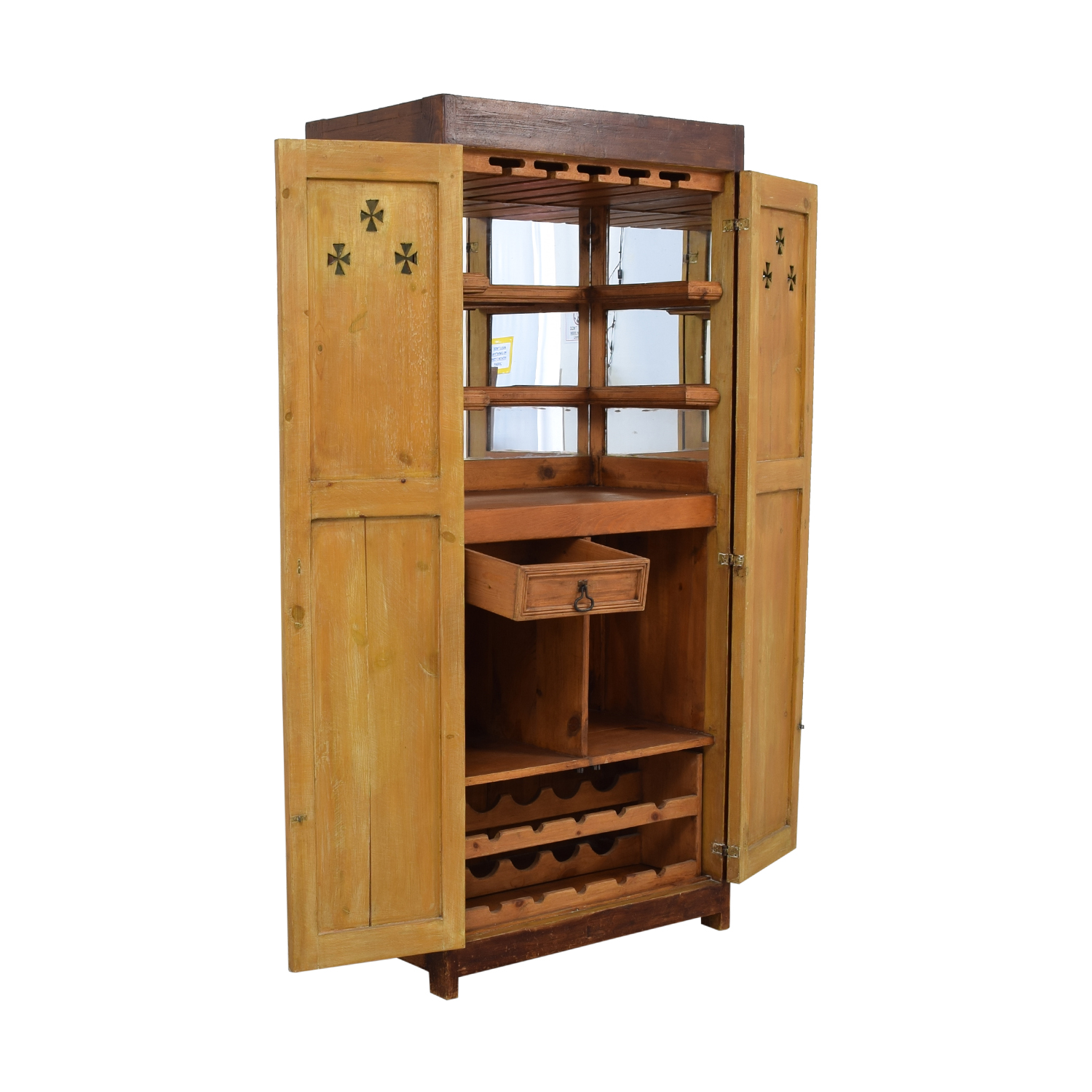 Distressed Wood Country Bar Cabinet Armoire with Interior Mirrors second hand