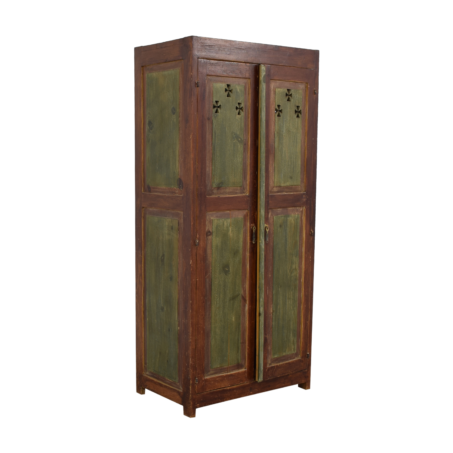 Distressed Wood Country Bar Cabinet Armoire with Interior Mirrors on sale