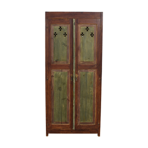 Distressed Wood Country Bar Cabinet Armoire with Interior Mirrors discount