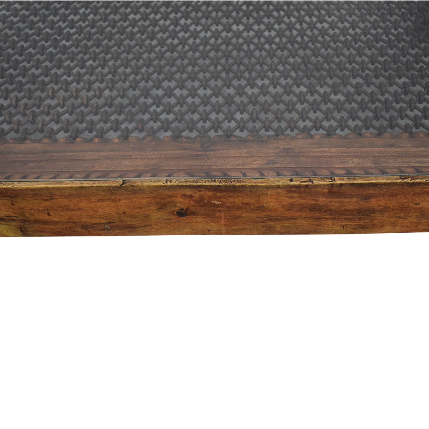 Vintage Coffee Table With Glass Top and Metal Lattice Inlay Tables