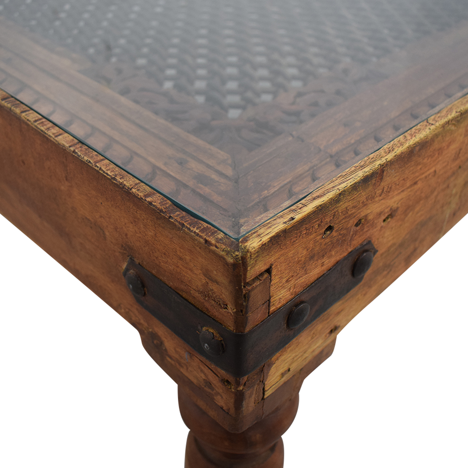 shop  Vintage Coffee Table With Glass Top and Metal Lattice Inlay online