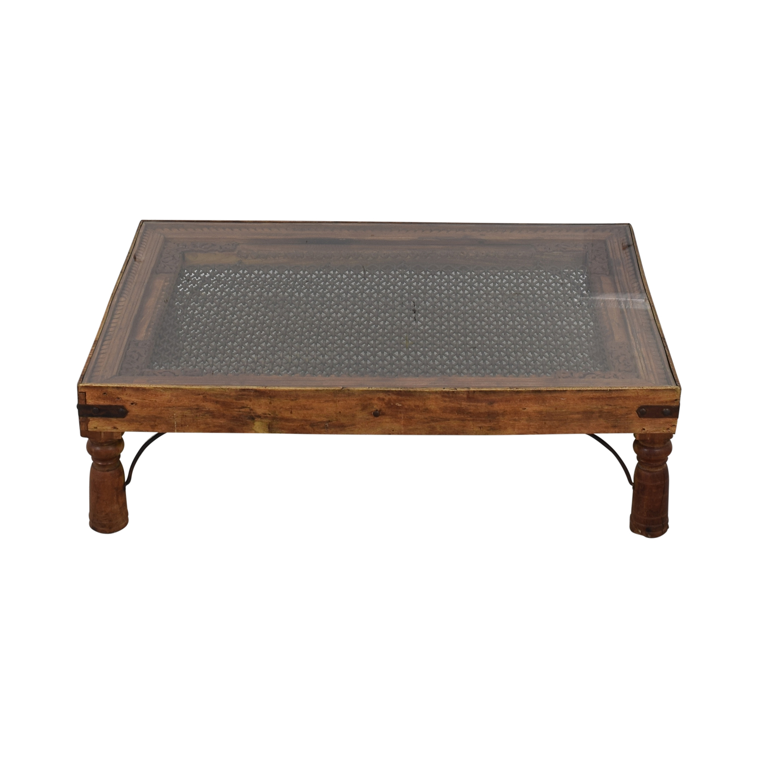 Vintage Coffee Table With Glass Top and Metal Lattice Inlay nyc