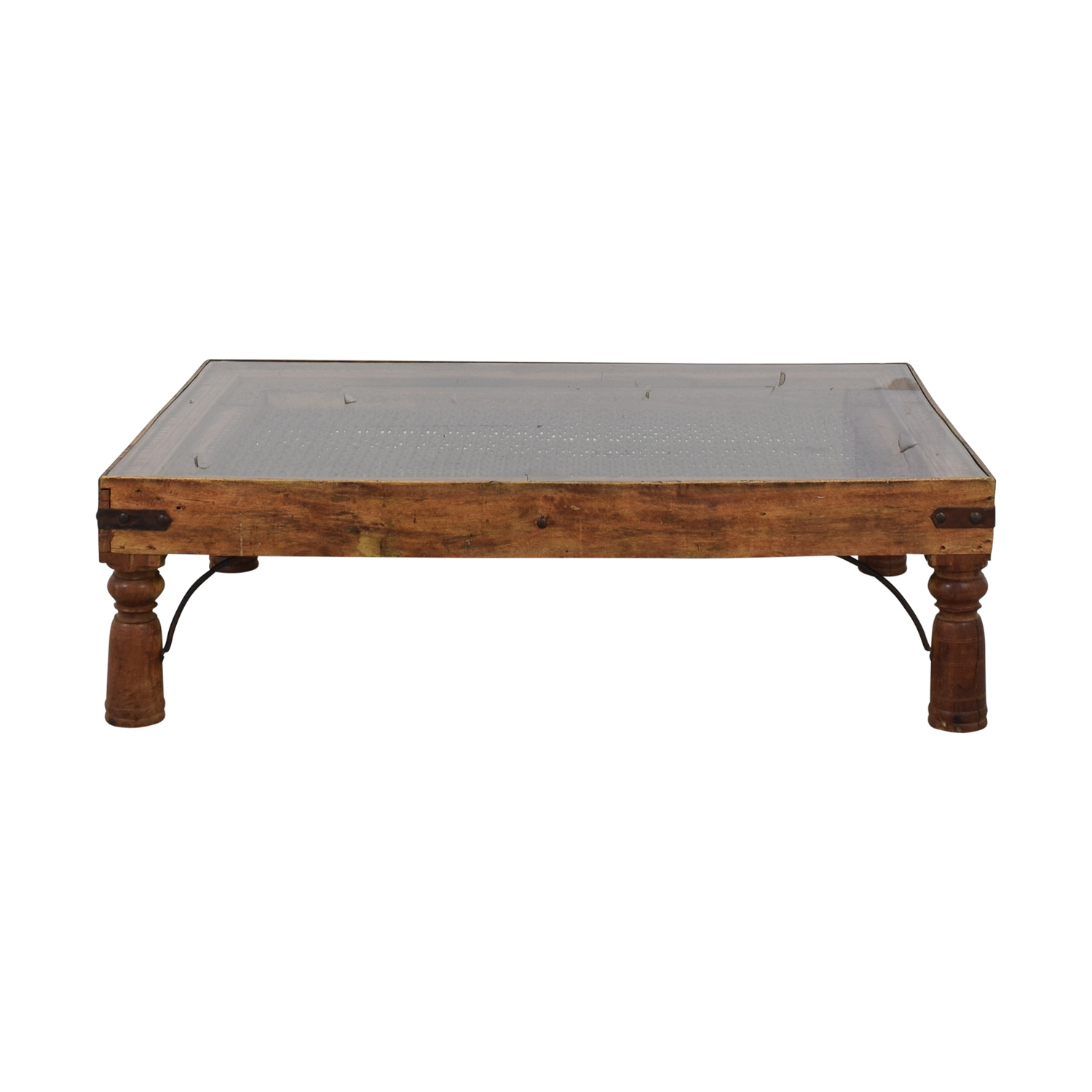 shop Vintage Coffee Table With Glass Top and Metal Lattice Inlay  Coffee Tables