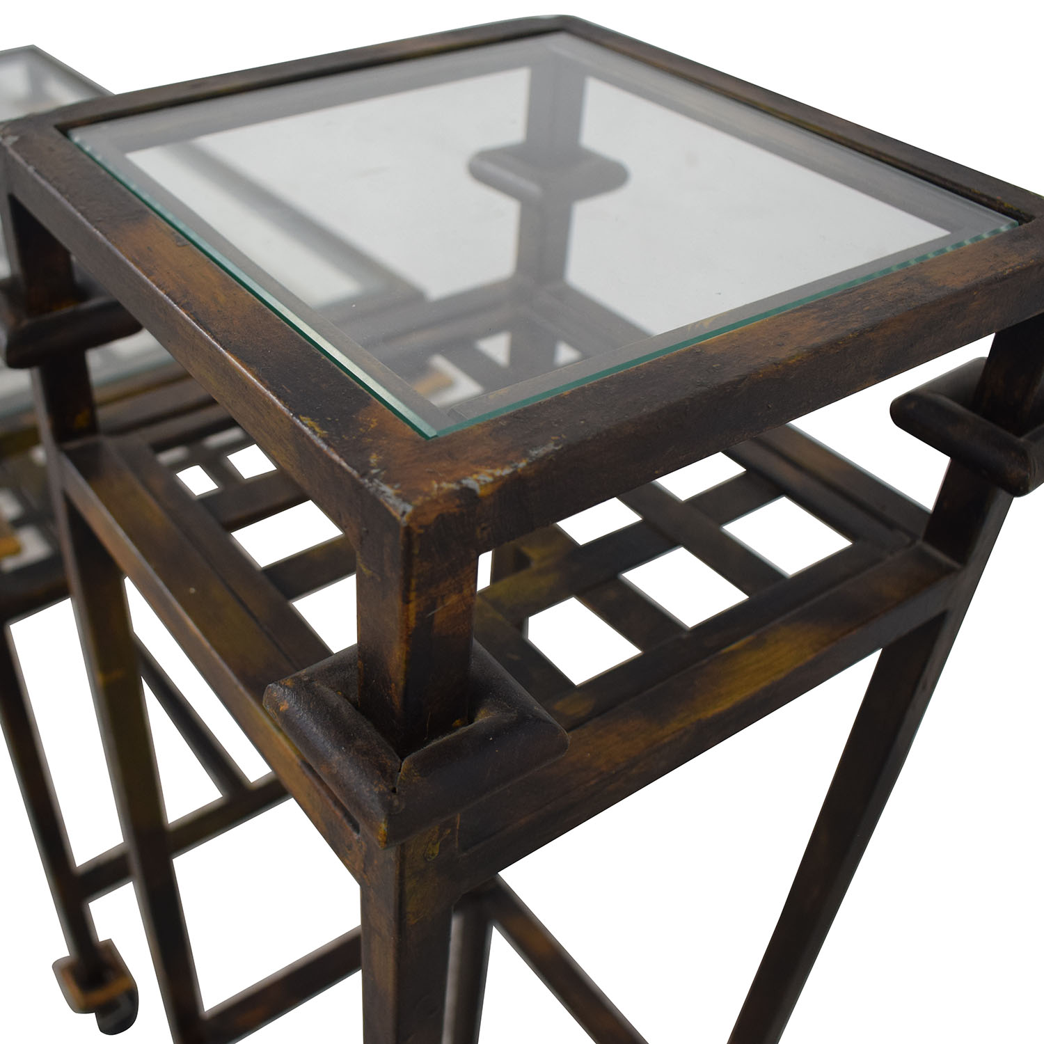 Rustic Glass Console with Matching End Tables dimensions