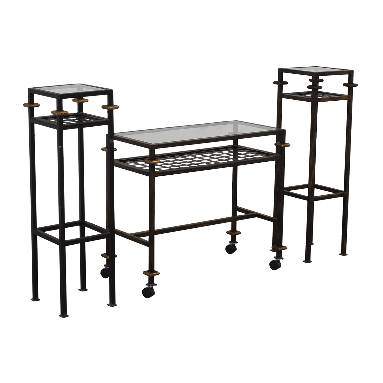 Rustic Glass Console with Matching End Tables used