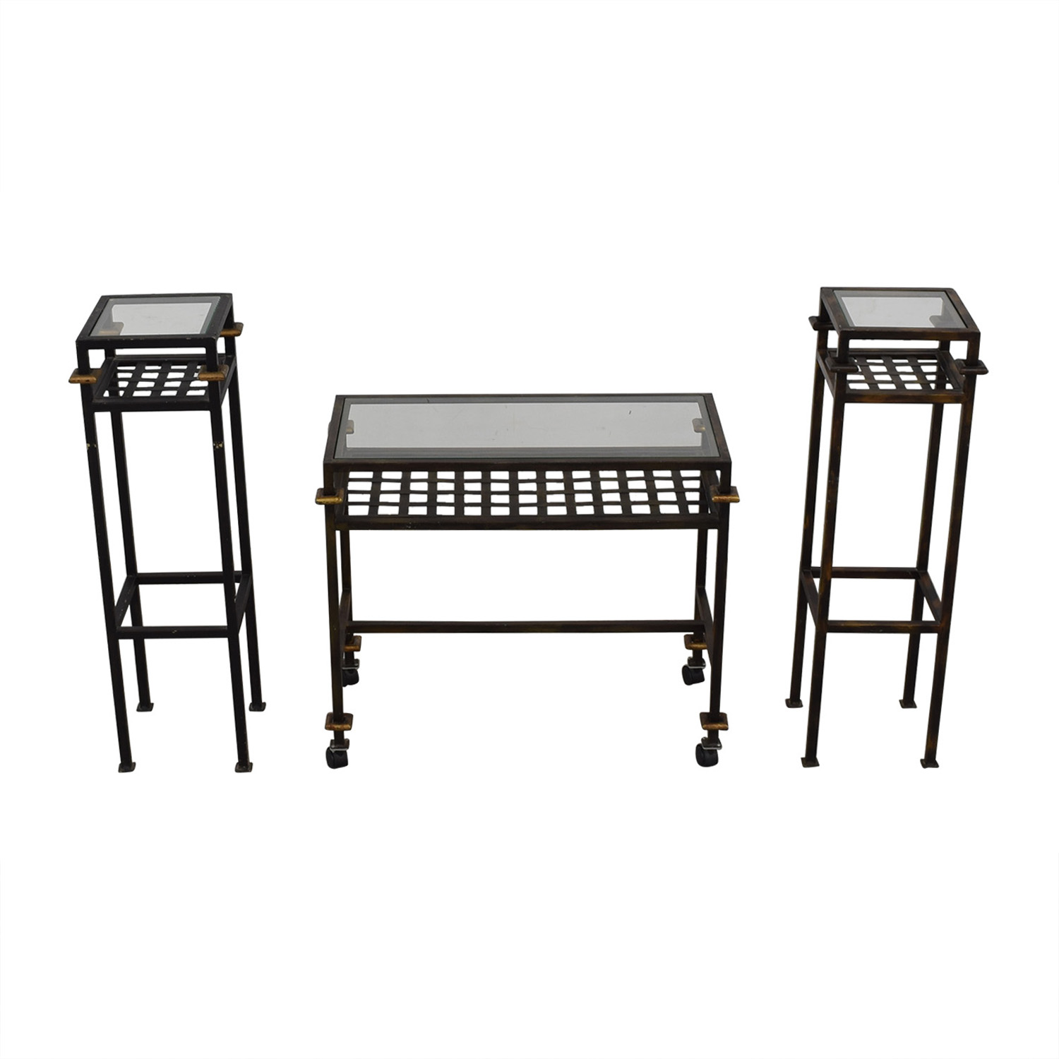 buy Rustic Glass Console with Matching End Tables  Tables
