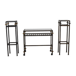 shop Rustic Glass Console with Matching End Tables  Tables