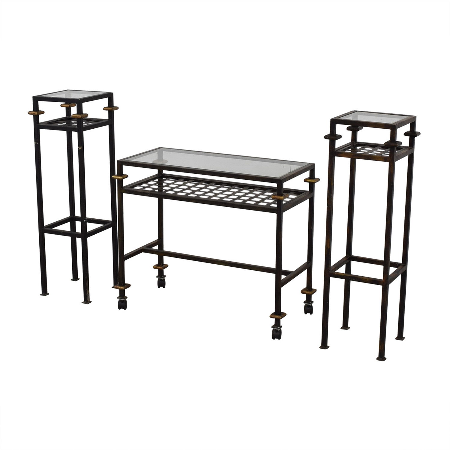 Rustic Glass Console with Matching End Tables for sale