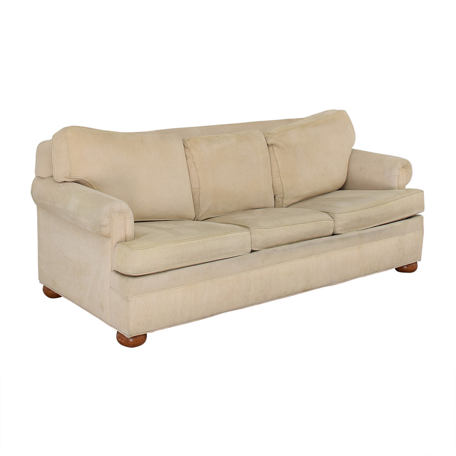 Ethan Allen Off White Three-Cushion Queen Convertible Sofa sale