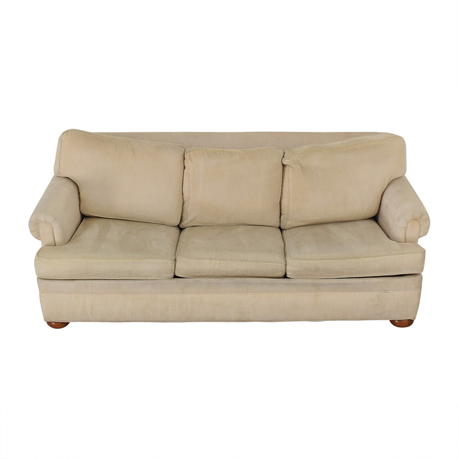 shop Ethan Allen Off White Three-Cushion Queen Convertible Sofa Ethan Allen Sofas