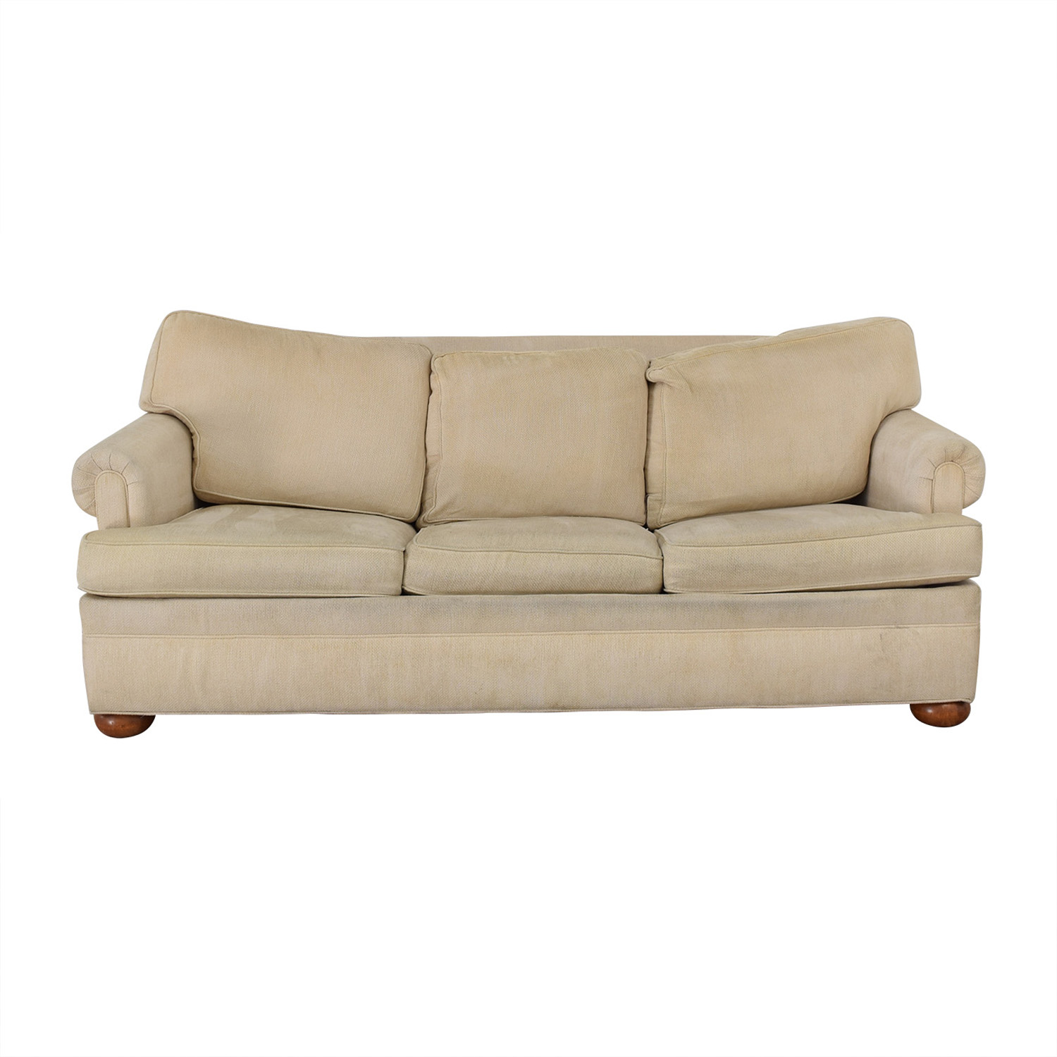 Ethan Allen Off White Three-Cushion Queen Convertible Sofa / Sofas
