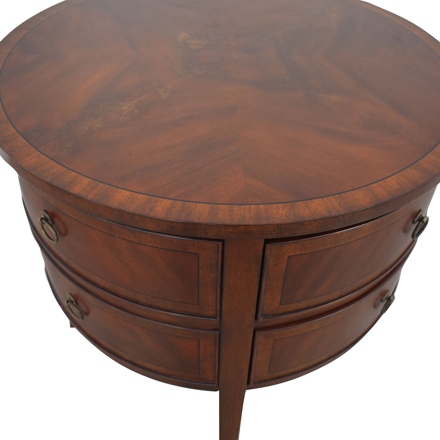 buy Ethan Allen Round Two-Drawer Accent Table Ethan Allen