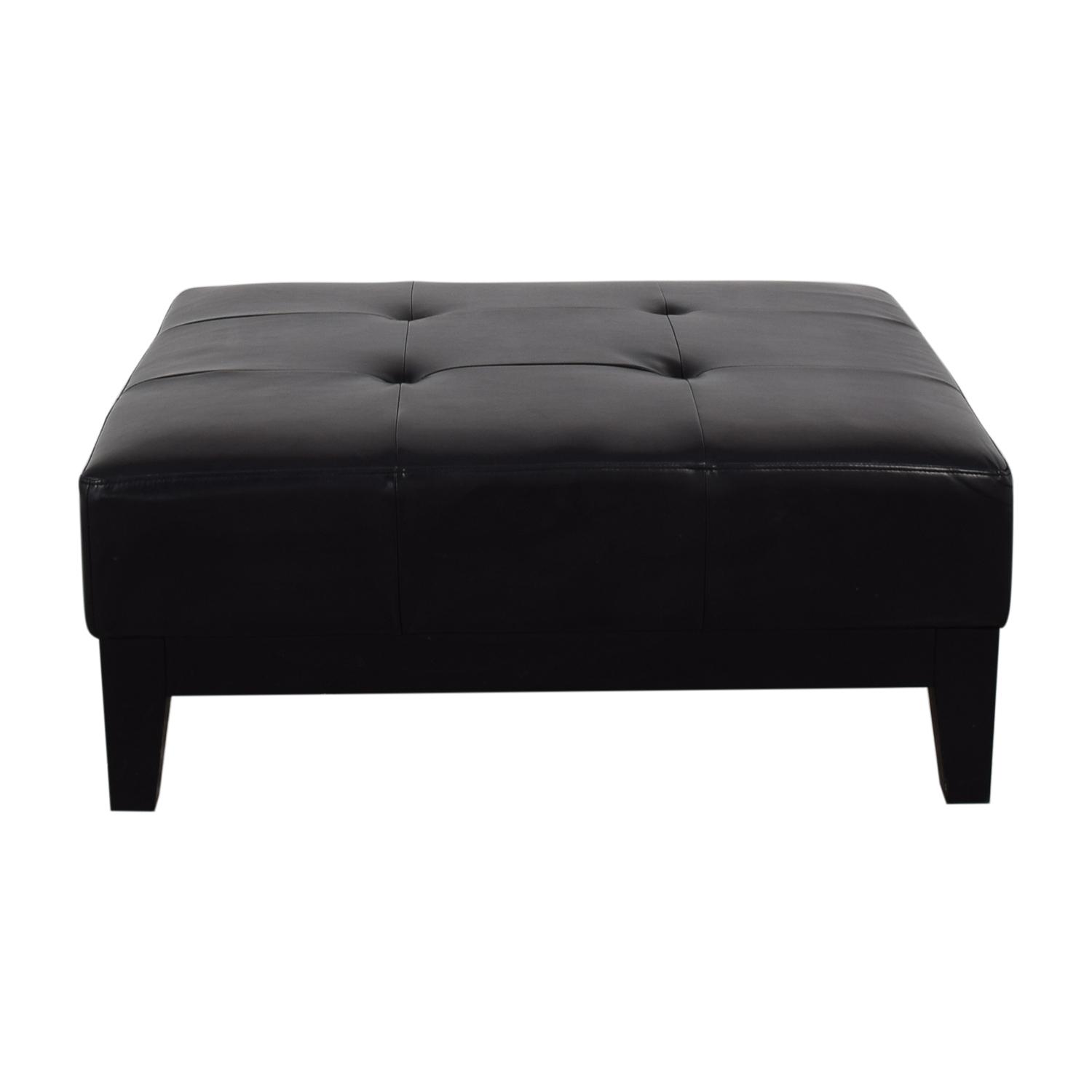 Baxton Studio Baxton Studio Grant Brown Leather Large Cocktail Ottoman with Tufting and Wood Feet price