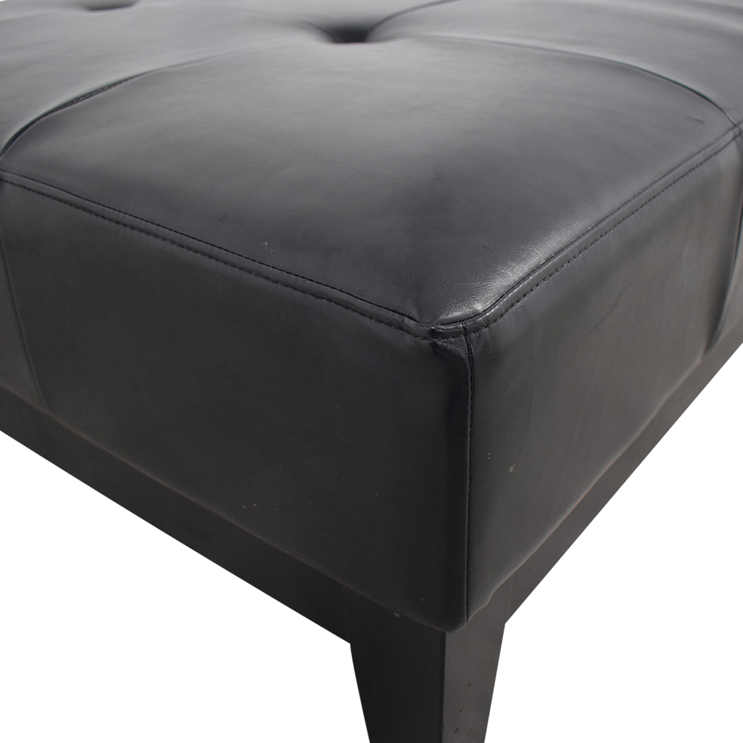 shop Baxton Studio Grant Brown Leather Large Cocktail Ottoman with Tufting and Wood Feet Baxton Studio Chairs