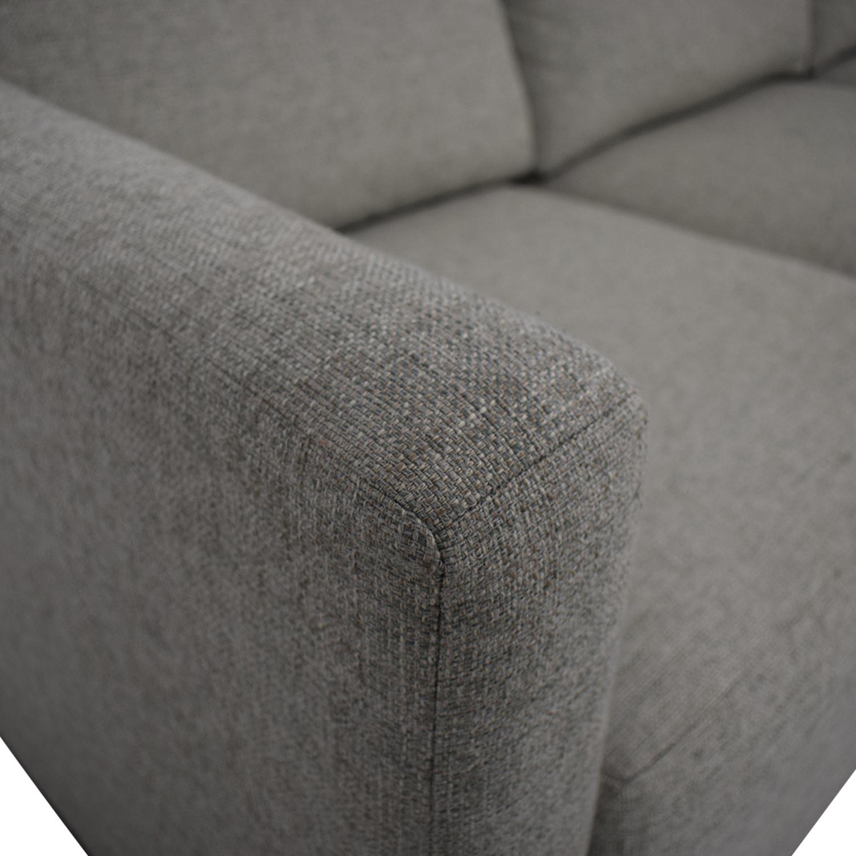 Contemporary Beige Linen Sofa Gray