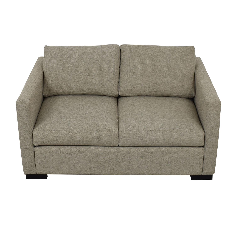 Beige Linen Upholstery Two-Cushion Loveseat Sofas