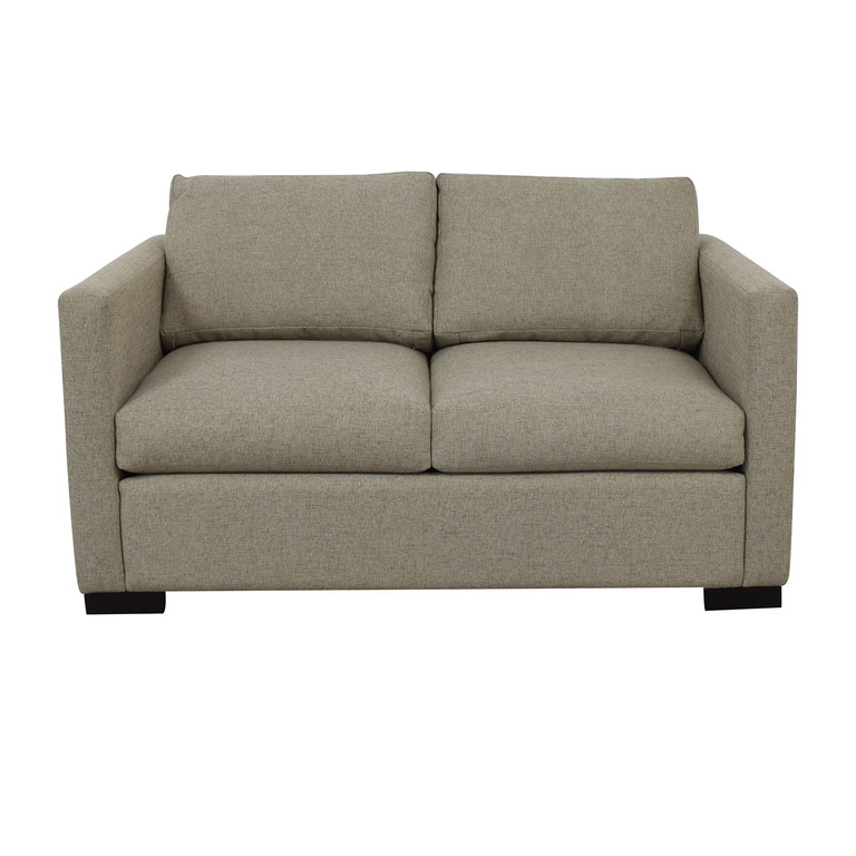 Beige Linen Upholstery Two-Cushion Loveseat dimensions