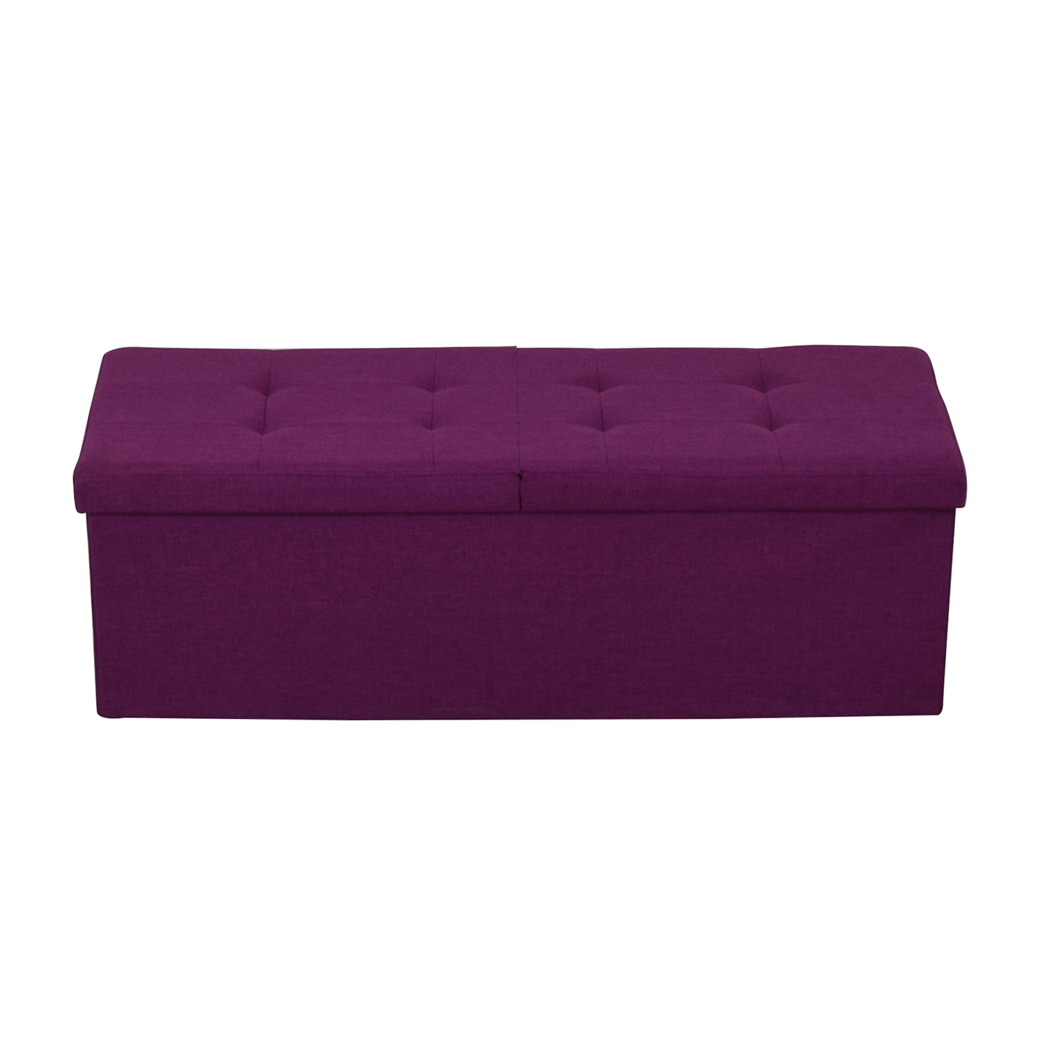 Magenta Tufted Storage Bench purple