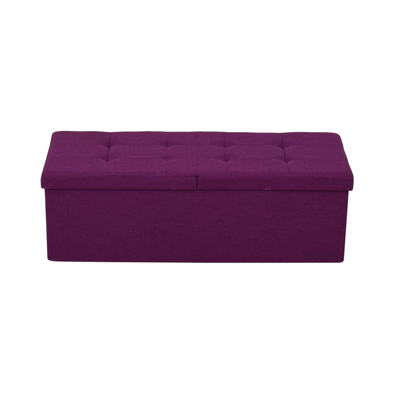 Magenta Tufted Storage Bench nyc