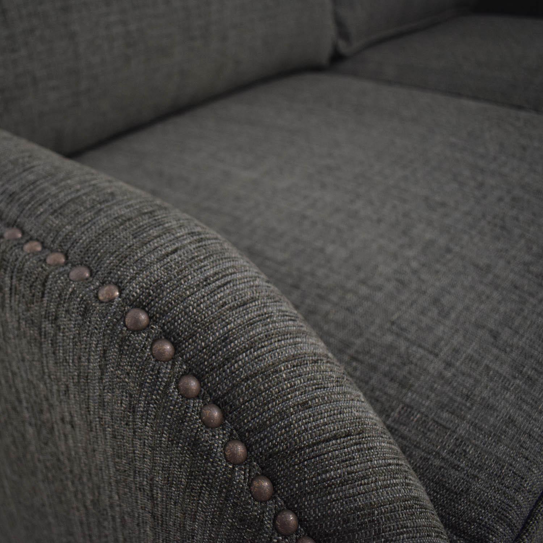 buy Gray Linen Blend Nailhead Two-Cushion Sofa  Sofas