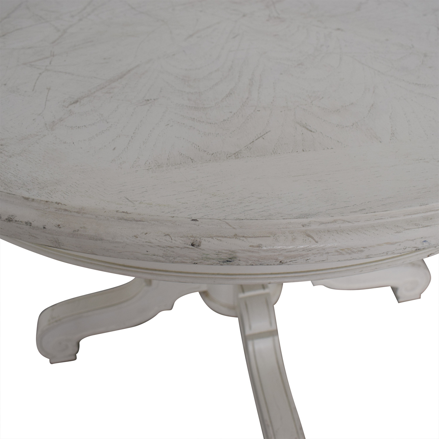 Victorian Style Round White Pedestal Dining Table on sale