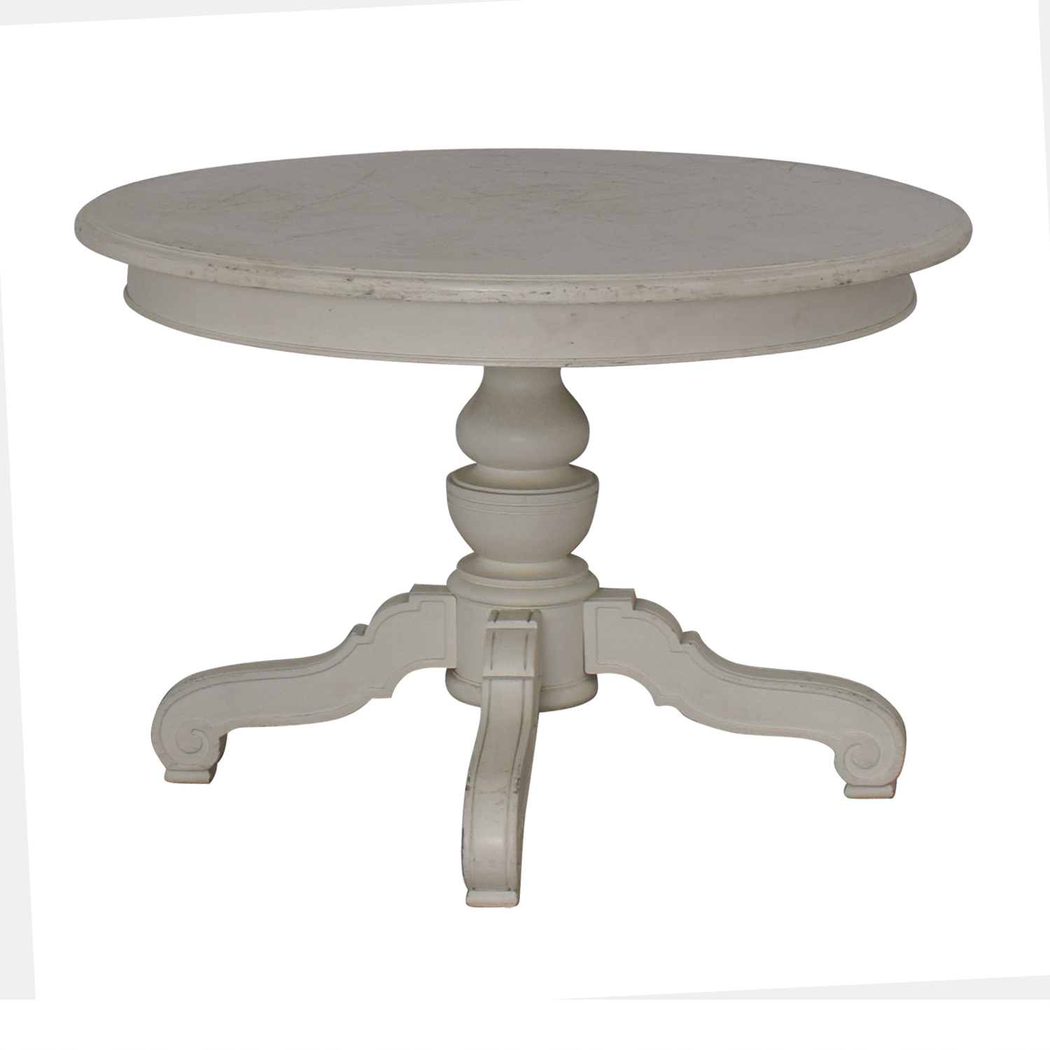 Victorian Style Round White Pedestal Dining Table