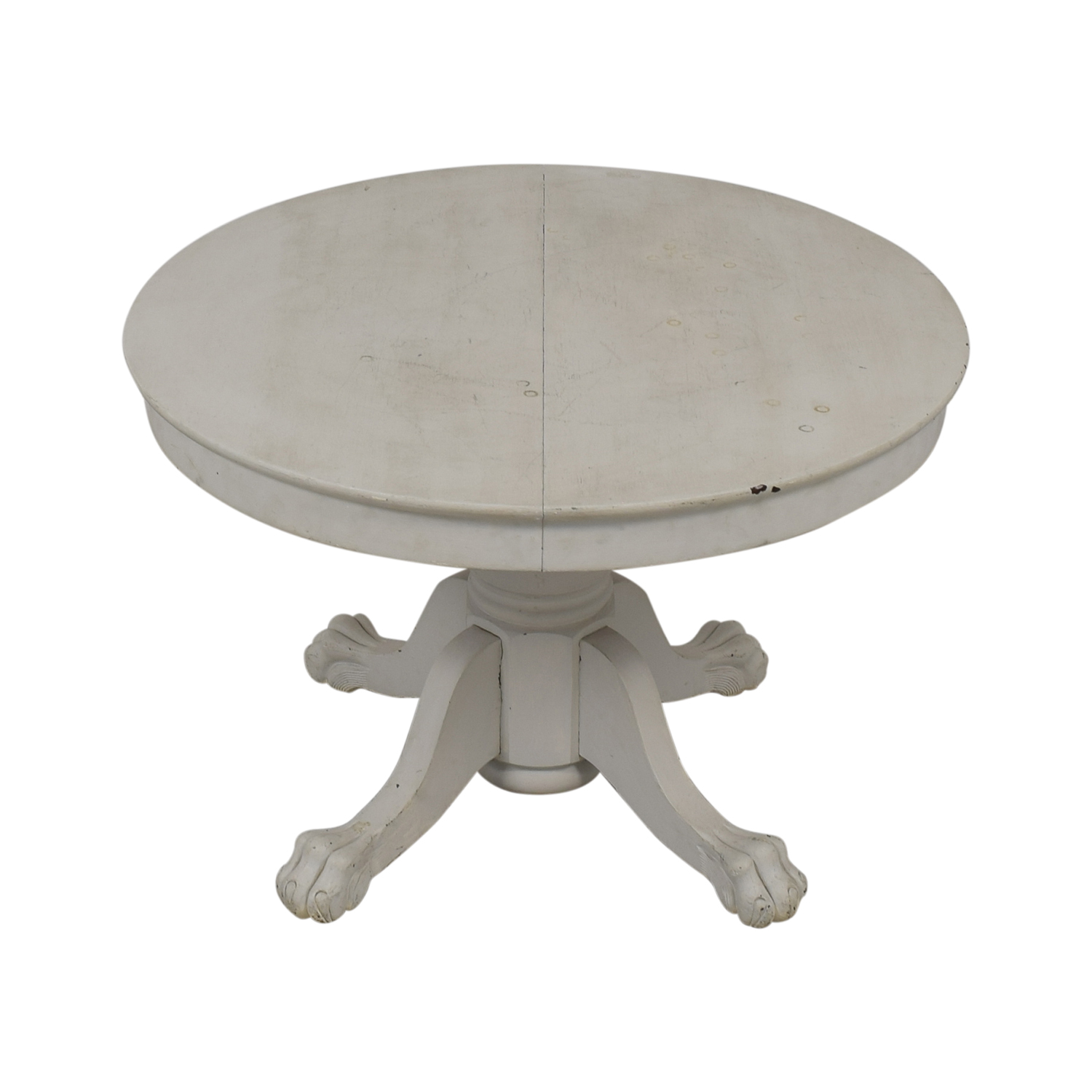 American Country Distressed Round White Oak Table used
